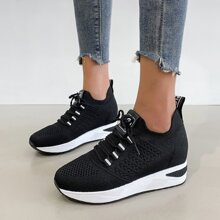 Lace Up Decor Hidden Wedge Sneakers