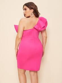Plus Neon Pink Big Bow One Shoulder Bodycon Dress