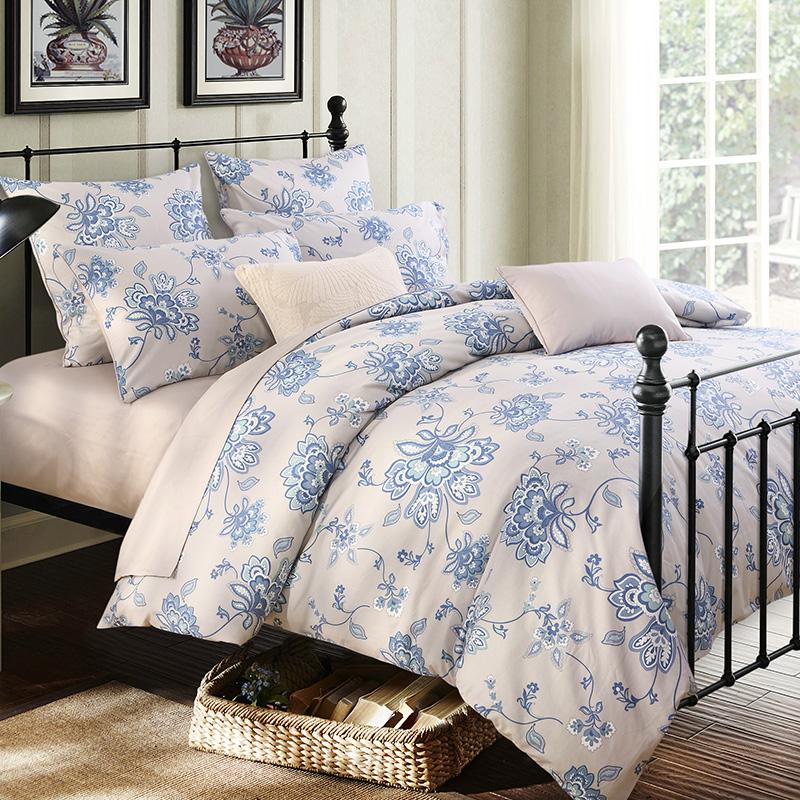 Blue Flower Printing Three-Piece Set Duvet Cover Set Reactive Printing Polyester Bedding Sets