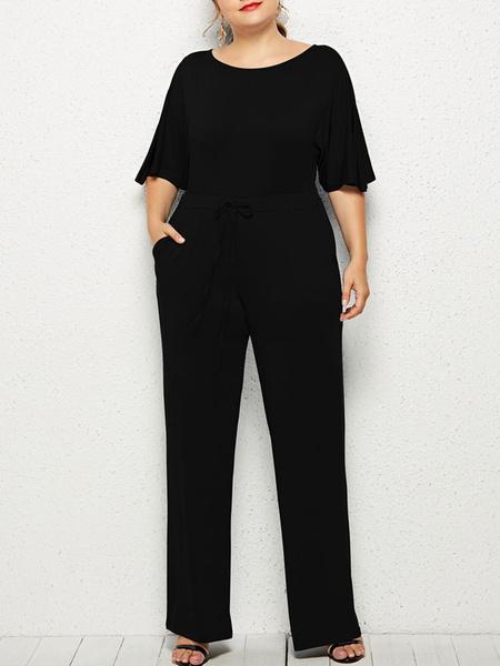 Milanoo Plus Size Jumpsuit For Women Short Sleeve Oversized Jumpsuit