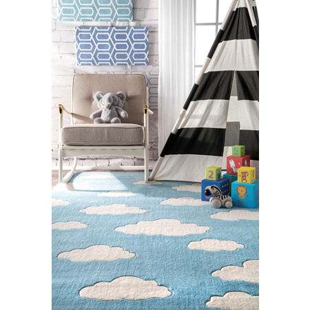 nuLoom Hand Tufted Cloudy Sachiko Rug, One Size , Blue