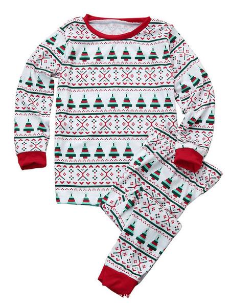 Milanoo Christmas Pajamas Family Kids Unisex Red 2 Piece Pjs