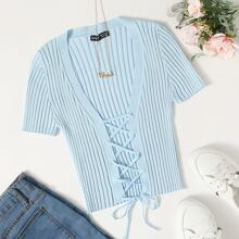 Lace Up Front Knit Top