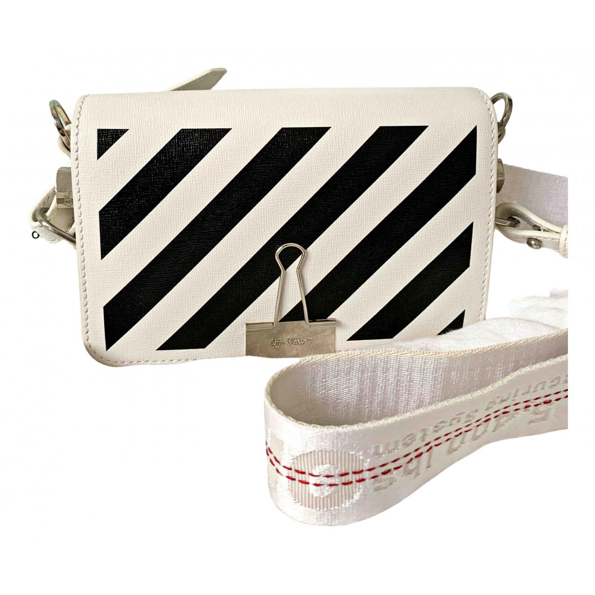 Off-white Binder Handtasche in  Weiss Leder