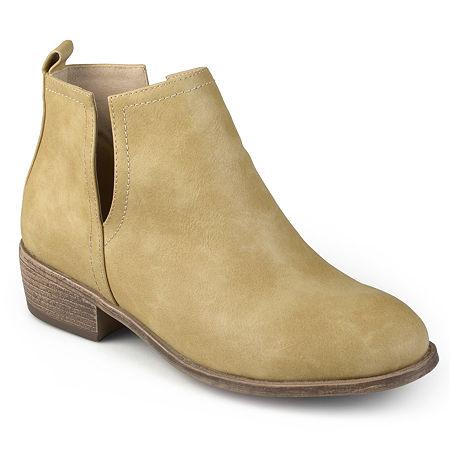 Journee Collection Womens India Booties Block Heel, 8 Medium, Brown
