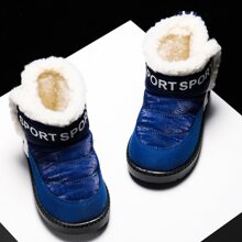 Toddler Boys Letter Graphic Faux Fur Lined Boots