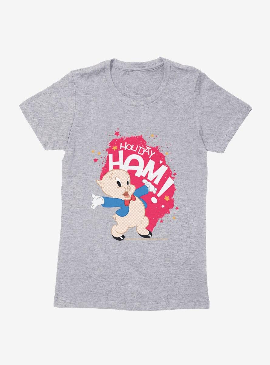 Looney Tunes Porky Pig Holiday Ham Womens T-Shirt