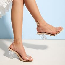Clear Open Toe Ankle Strap Chunky Heels