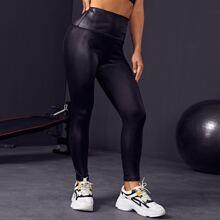 Einfarbiges Sports Leggings mit breitem Taillenband