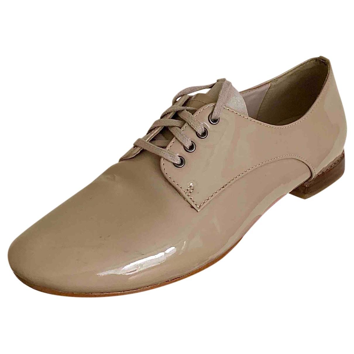 Clarks N Beige Leather Flats for Women 38 EU