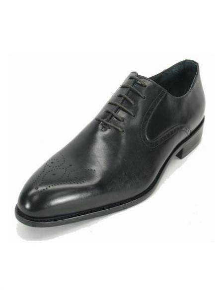 Men's Black Fashionable Perf Lace Up Style Shoes