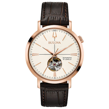 Bulova Aerojet Mens Automatic Brown Leather Strap Watch-97a136, One Size , No Color Family