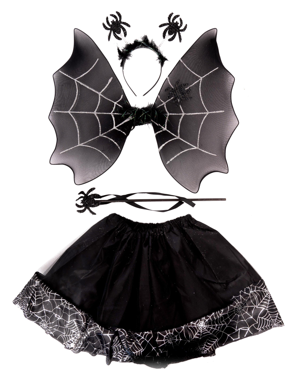 Kostuemzubehor Spinnweben Set schwarz 4-tlg.