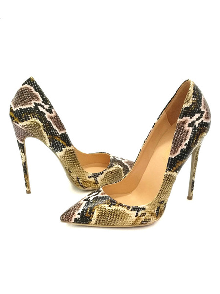Milanoo Snake Printed Pointed Toe Basic Pumps Stiletto High Heels Women Dress Shoes