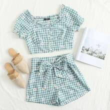 Frill Trim Floral Embroidery Gingham Top