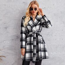 Waterfall Collar Self Belted Plaid Overcoat