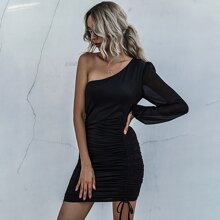 Drawstring Ruched One Shoulder Bodycon Dress
