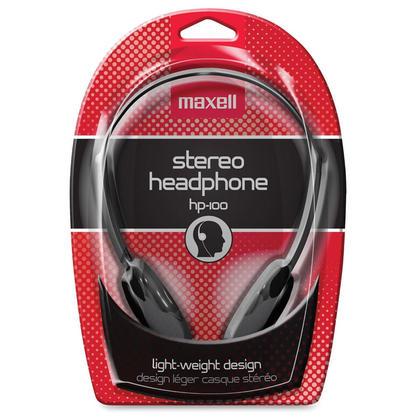 Maxell 190319 HP-100 Lightweight Stereo Headphones, Black