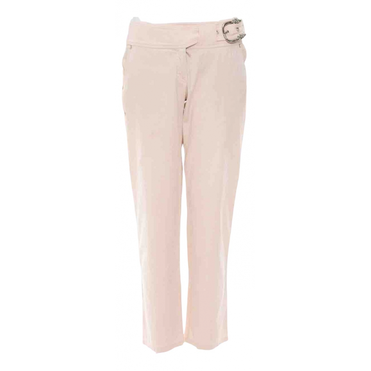 Roberto Cavalli \N Pink Cotton Trousers for Women 42 FR