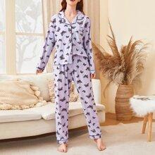 Schlafanzug Set mit Schmetterling Muster
