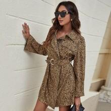 Vestidos Cremallera Leopardo Elegante