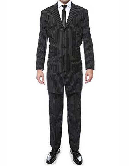 Men's 6 Button Closure Black Regular Fit Pin Stripe 2 Piece Zoot Suit