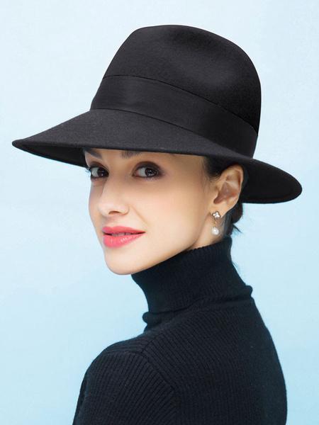 Milanoo Women Fedora Hat 100% Wool Party Hat Vintage Wide Brim Bowler Hat