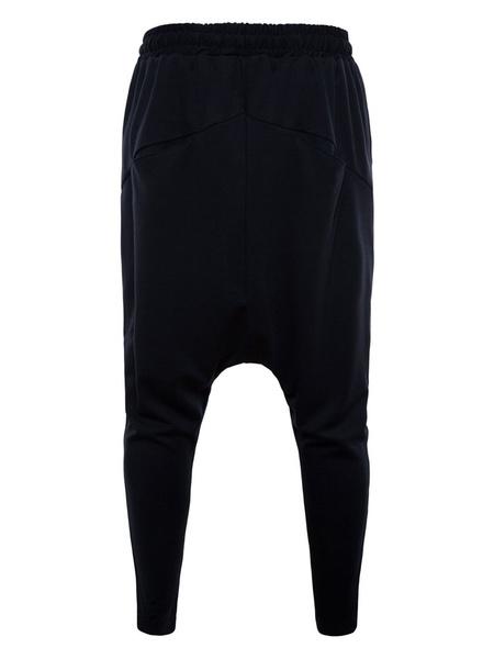 Milanoo Hombre Pantalones de Harem 2020 Oscuro Gris Estrecho Ajustado Pantalones de Entrepierna Caida de Algodon