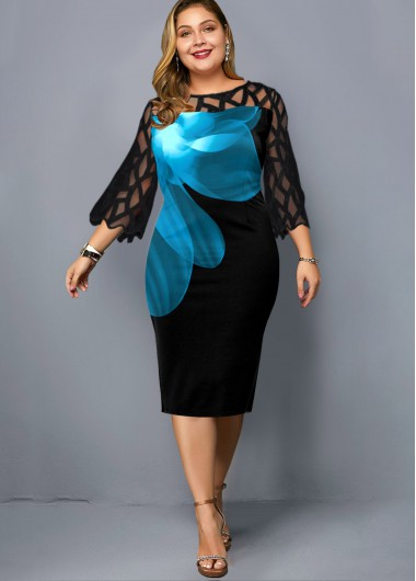 Floral Print Lace Panel Plus Size Dress - 1X