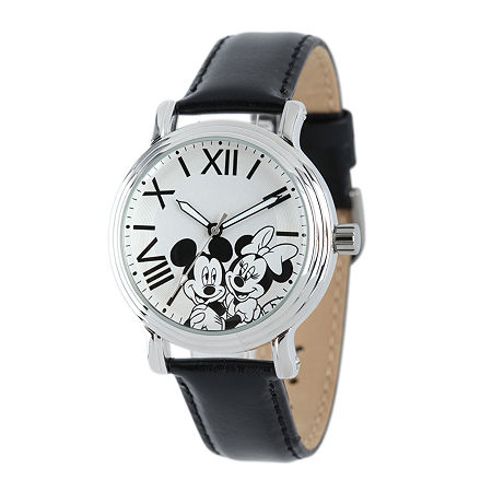 Disney Mickey Mouse and Minnie Mouse Womens Black Leather Strap Watch, One Size , No Color Family