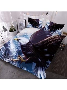 A Black And White Eagle In A World Of Ice And Snow Printed 3-Piece Comforter Sets