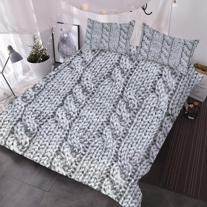 3D Gray Knit Pattern Comforter Lightweight 3-Piece Polyester Comforter Set with 2 Pillowcases