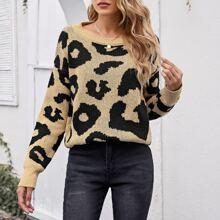 Jersey de leopardo de hombros caidos