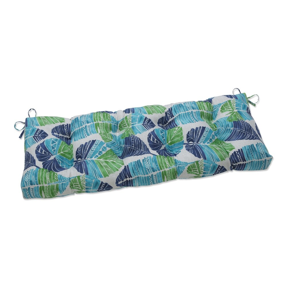 Pillow Perfect Outdoor | Indoor Hixon Caribe Outdoor Tufted Bench Swing Cushion 48 X 18 X 5 (Blue)