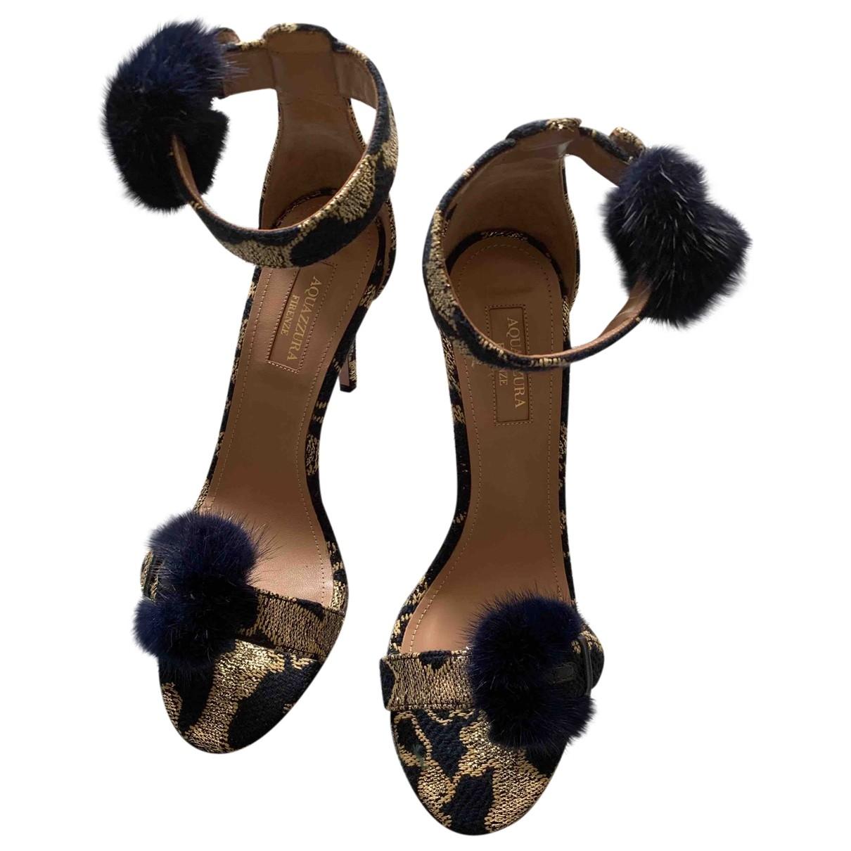 Aquazzura \N Gold Cloth Sandals for Women 38.5 EU