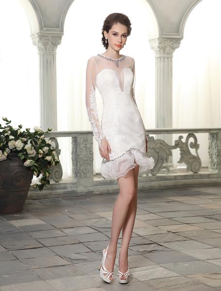 Milanoo Short Sheath Jewel Neck Ruffles Lace Ivory Brides Wedding Dress