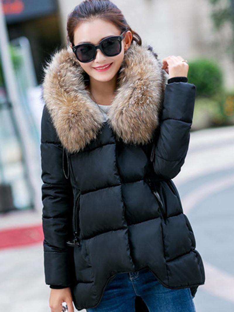 Ericdress Faux Fur Collar Loose Cotton Coat