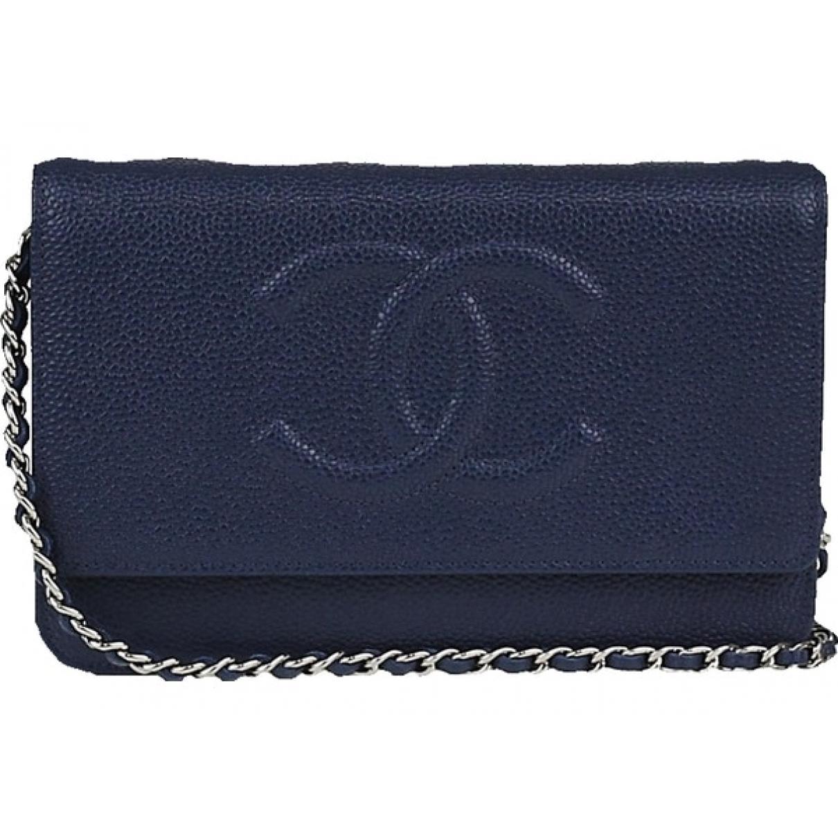 Chanel - Pochette Wallet on Chain pour femme en cuir - marine