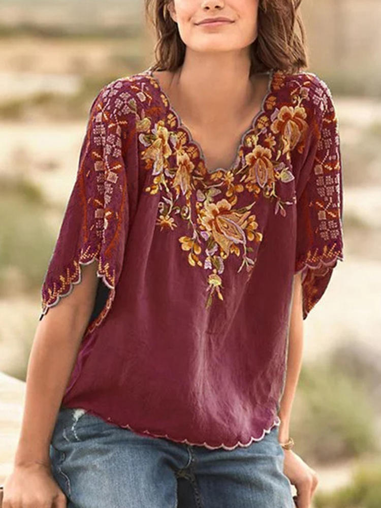Women Casual Loose V-Neck Embroidered Blouse