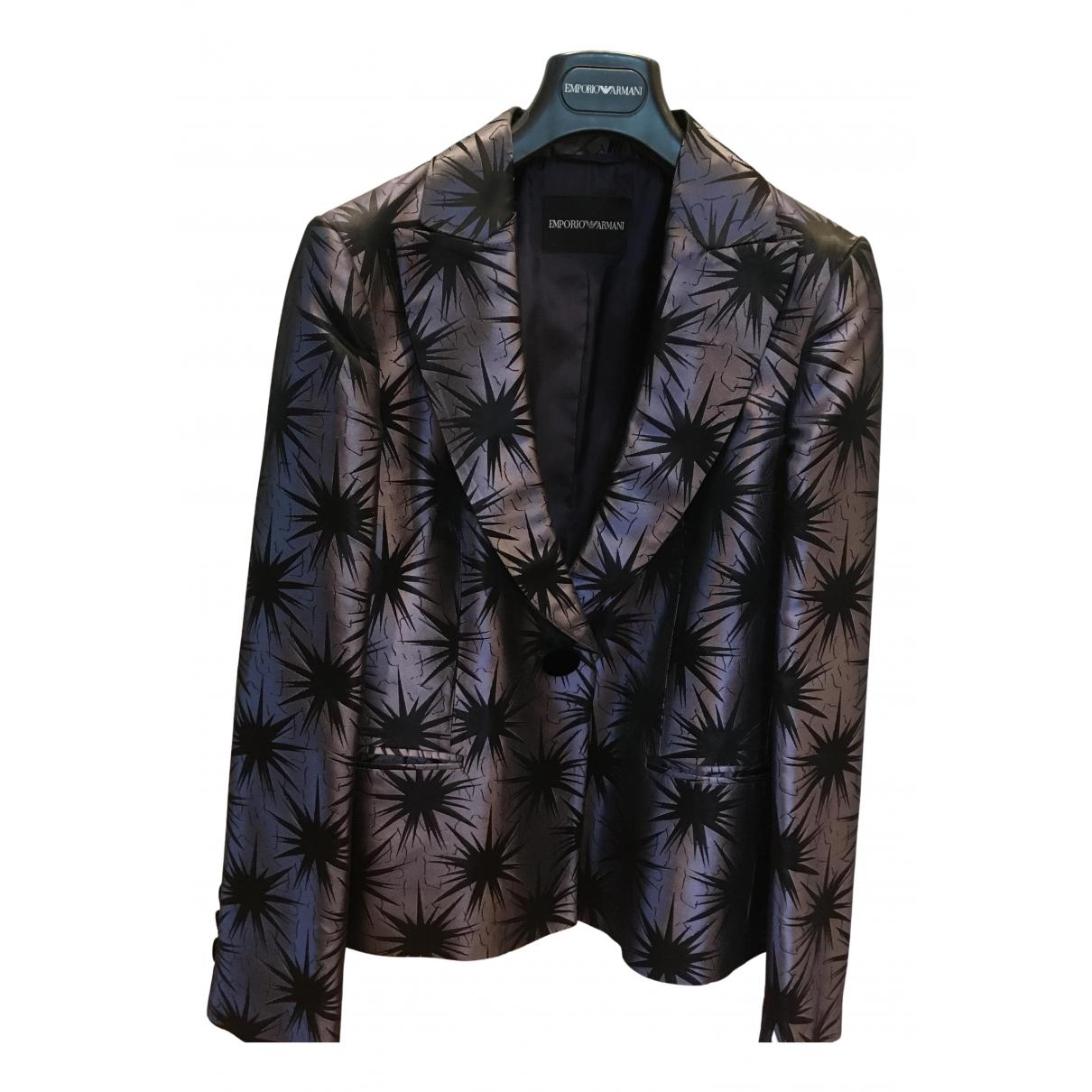 Emporio Armani N Blue Silk jacket for Women 46 IT