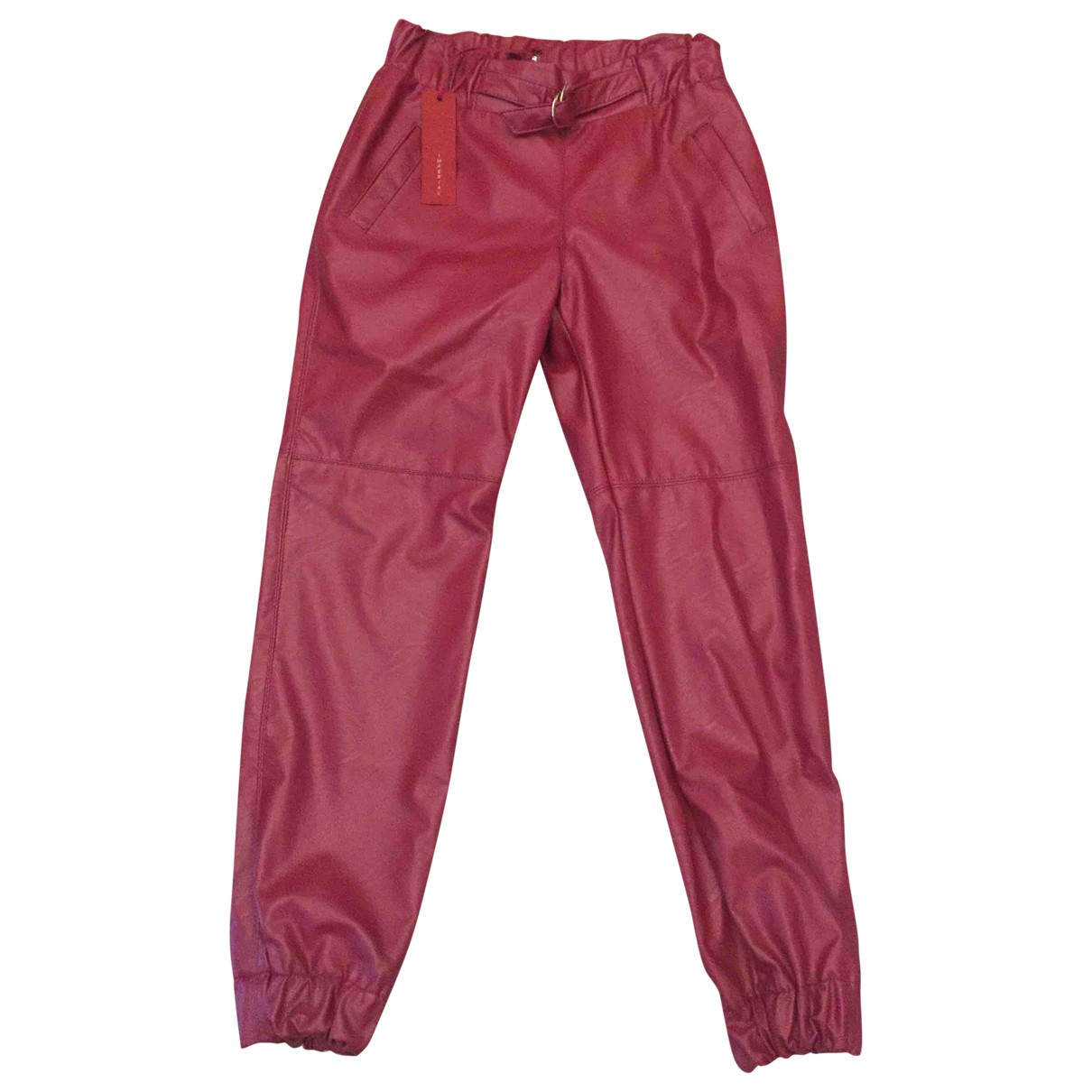 Impérial N Burgundy Leather Trousers for Women XS International
