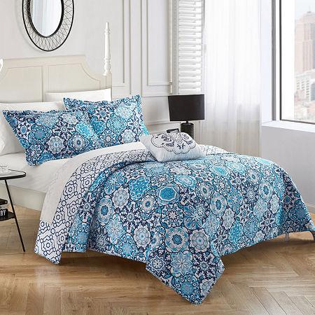 Chic Home Aspen Quilt Set, One Size , Blue