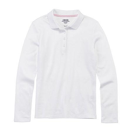 IZOD Little & Big Girls Long Sleeve Polo Shirt, Large , White