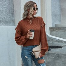 Button Detail Ribbed Knit Sweater