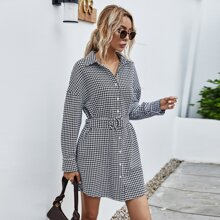 Houndstooth Print Button Front Belted Dress