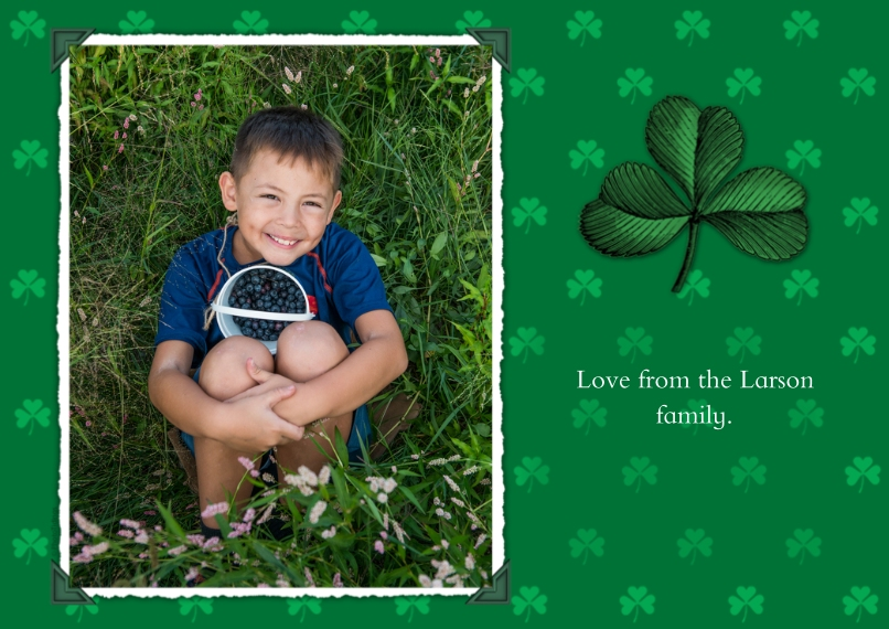 St. Patricks Day Cards Flat Glossy Photo Paper Cards with Envelopes, 5x7, Card & Stationery -Charming Shamrocks