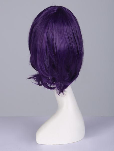 Milanoo Halloween Carnaval Peluca de disfraz de fibra resistente al calor Cosplay de violeta oscura con peluca