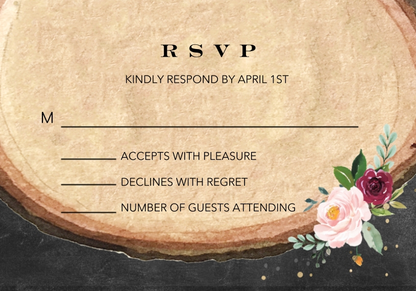 Matching Suites 3.5x5 Flat Notecard, Card & Stationery -Wedding RSVP Wood Floral by Tumbalina