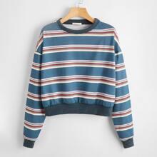 Striped Drop Shoulder Sweatshirt
