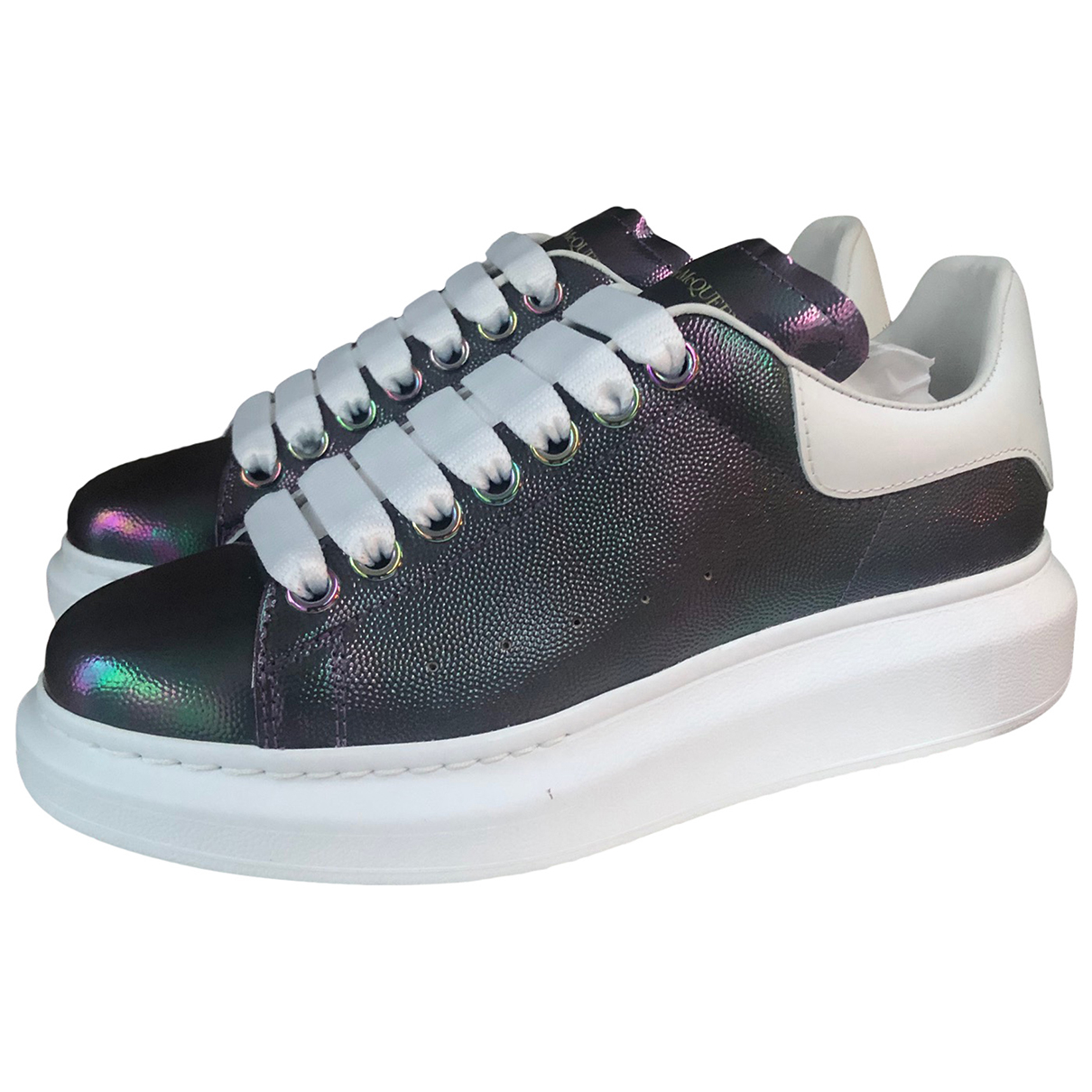 Alexander Mcqueen Oversize Metallic Leather Trainers for Women 36.5 EU